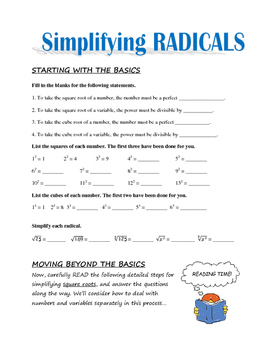 Simplifying Radicals - Lesson and Practice Problems