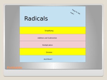 Simplifying Radicals Lesson with Foldable