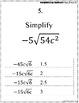 Simplifying Radicals Mad Lib Activity