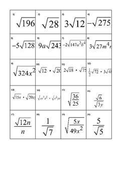 Simplifying Radicals Match