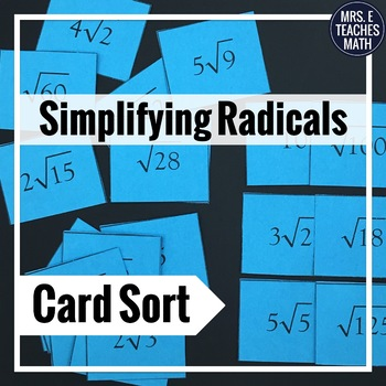 Radicals Card Sort   rationalizing and conjugates included