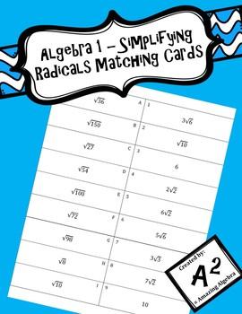 Algebra 1 - Simplifying Radicals Matching Cards