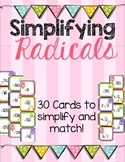 Simplifying Radicals Matching Cards