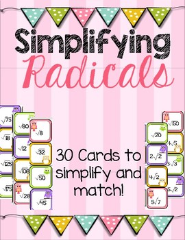 Simplifying Radicals Matching Cards