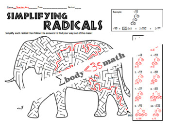 Simplifying Radicals Maze