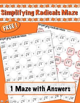 Simplifying Radicals Maze FREEBIE