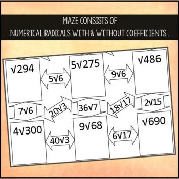 Simplifying Radicals Maze - Intermediate