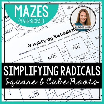 Simplifying Radicals Mazes (Square and Cube Roots)