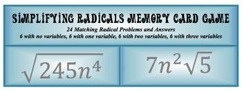 Simplifying Radicals Memory Card Game