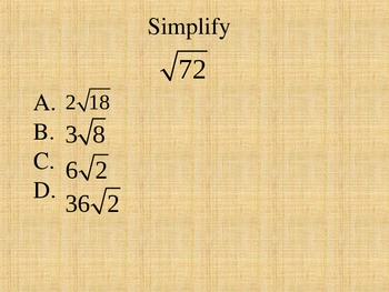 Simplifying Radicals Multiple Choice Quiz PowerPoint
