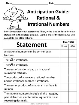 Rational and Irrational No Prep Lesson