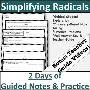 Simplifying Radicals Notes - Guided Notes