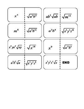 Simplifying Radicals Only Variable Dominos