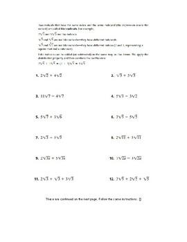 Simplifying Radicals Packet