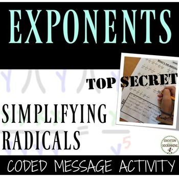 Simplifying Radicals Coded Message Activity  (Includes 2 messages with radicals)