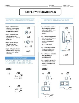 Simplifying Radicals Practice Worksheet with Examples by ...