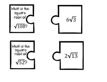 Simplifying Radicals Puzzle Pieces