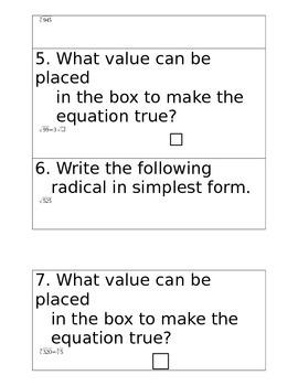 Simplifying Radicals QR Code Activity