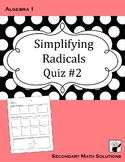 Radicals Quiz (with Pythagorean Theorem)