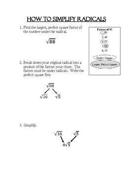 Simplifying Radicals - Reference Sheet