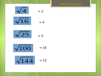Simplifying Radicals Review Powerpoint