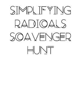 Simplifying Radicals Scavenger Hunt