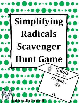 Simplifying Radicals Scavenger Hunt Game