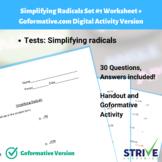 Simplifying Radicals Set #1 Worksheet and Goformative.com