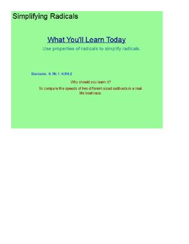 Simplifying Radicals SmartBoard Lesson