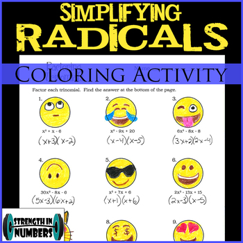Simplifying Radicals/Square Roots EMOJI Coloring Activity