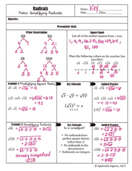 Simplifying Radicals (Square Roots) - Guided Notes and Practice