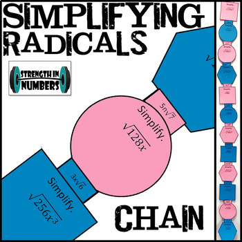 Simplifying Radicals/Square Roots Paper Chain for Display