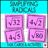 Simplifying Radicals Square Roots Task Cards