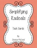 Simplifying Radicals Task Cards