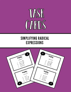 Simplifying Radicals Task Cards