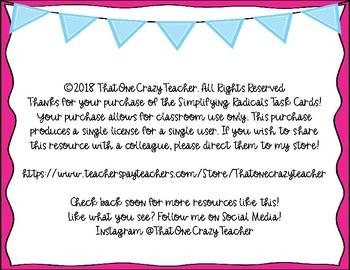 Simplifying Radicals Task Cards-Freebie!