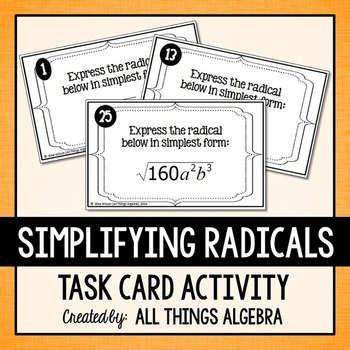 Simplifying Radicals Task Cards (Square Roots and Cube Roots)
