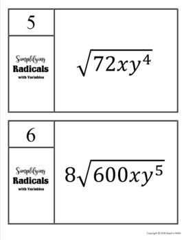 Simplifying Radicals With Variables Task Cards & Riddle Activity