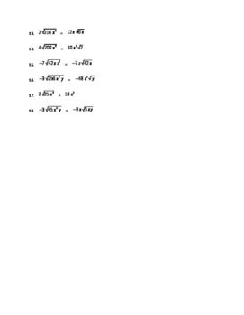 Simplifying Radicals Worksheet Part II