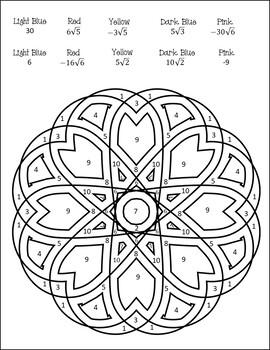Simplifying Radicals Worksheet {Simplifying Radicals Coloring Activity}