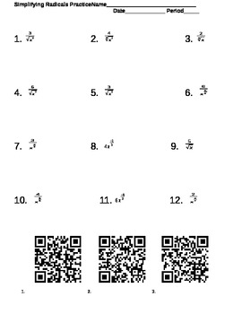 Simplifying Radicals and Fractional Exponents Worksheet with QR ...