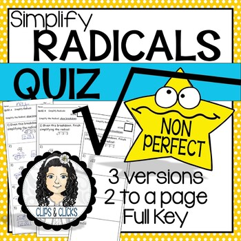 Simplifying Radicals and Operations QUIZ