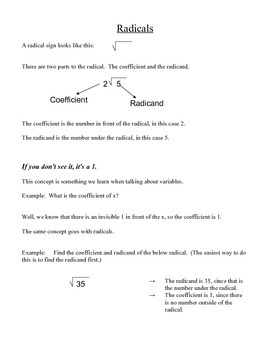 Simplifying Radicals and Radical Operations