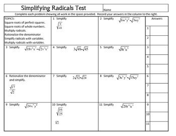 Simplifying Radicals test
