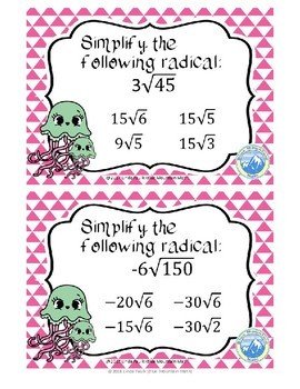 Simplifying Radicals with Coefficients Boom Cards--Digital Task Cards