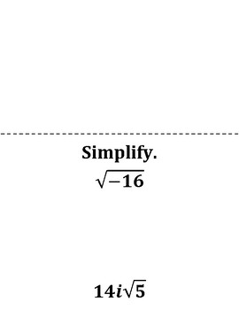 Simplifying Radicals with Imaginary Numbers Scavenger Hunt Game