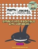 Simplifying Radicals with Variables FUN worksheet