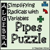 Simplifying Radicals with Variables - Pipes Puzzle Activity