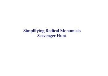 Simplifying Radicals with Variables Scavenger Hunt