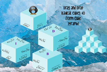 Simplifying Radicals with Variables Puzzle with GOOGLE Slides™